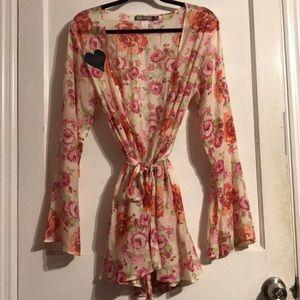 For Love & Lemons Talk Dirty Floral Robe O/S